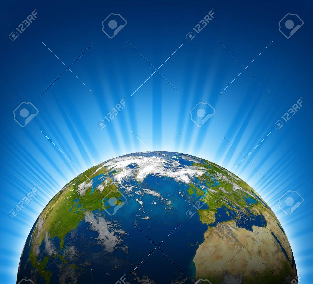 International view of North america and Europe on an Earth planet globe model with a bright radial blue background. Stock Photo - 10909941