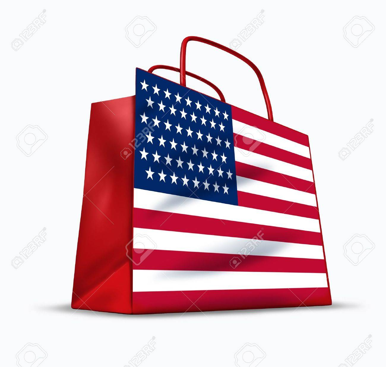 American consumer symbol with a shopping bag  and the U.S. flag. Stock Photo - 11053461
