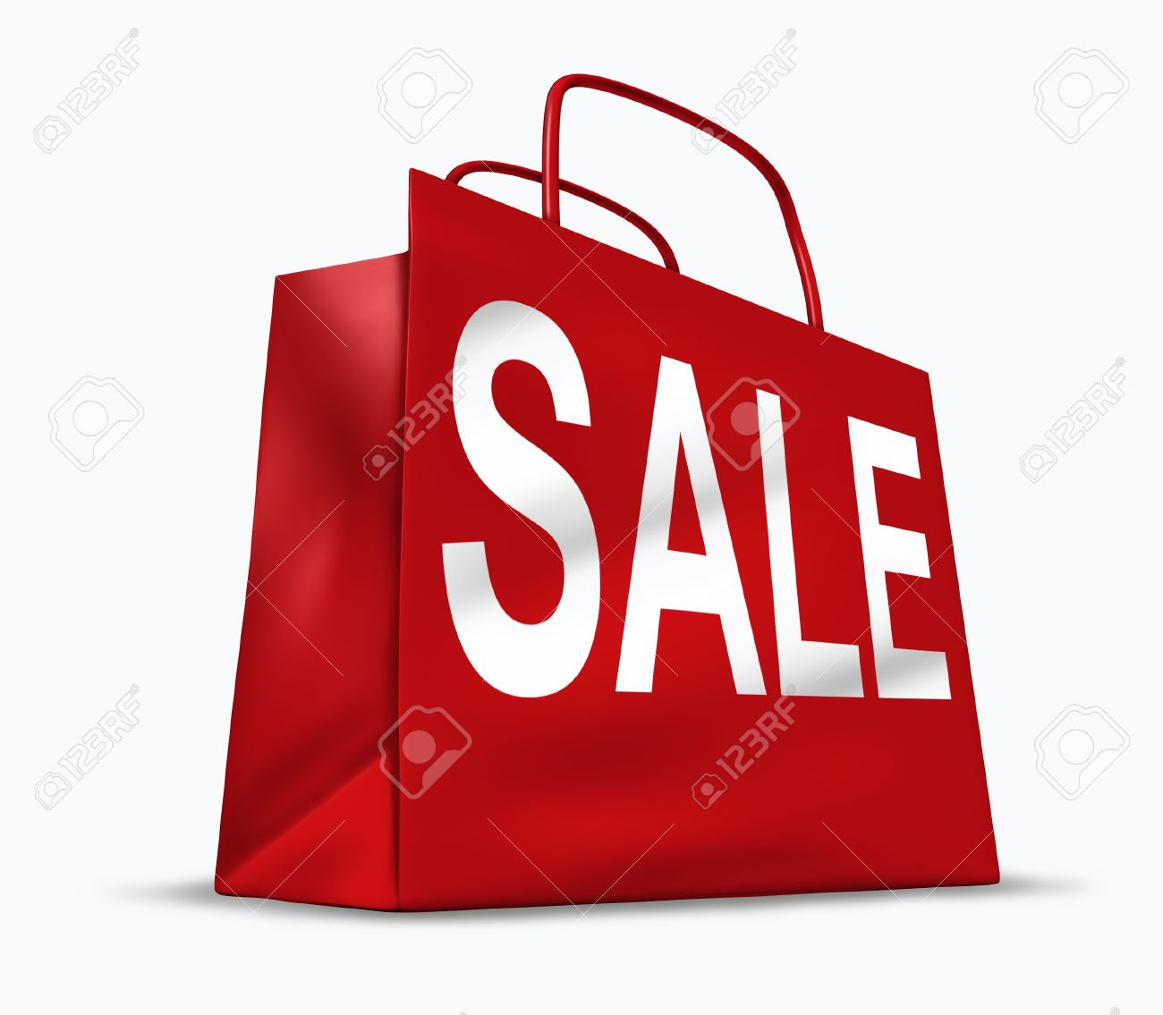 Red shopping bag with the word sale on it representing the concept of retail consumers and shoppers looking for bargains and low prices at the mall or department stores.. Stock Photo - 10945903