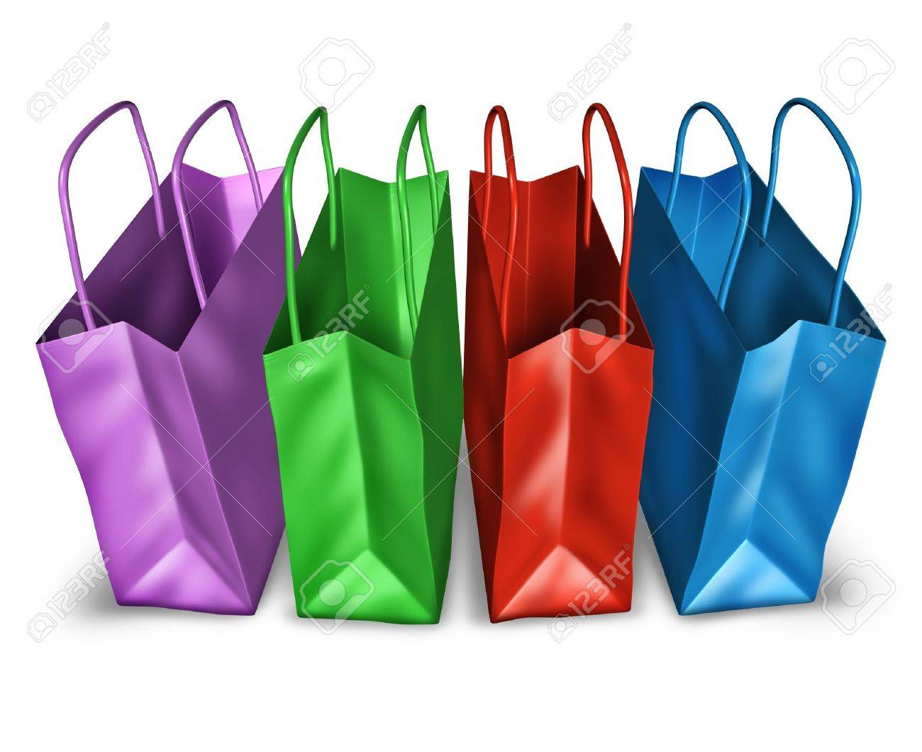 Shopping bags in a group with multi colors representing sales and retail purchases at stores and shops. Stock Photo - 10945934