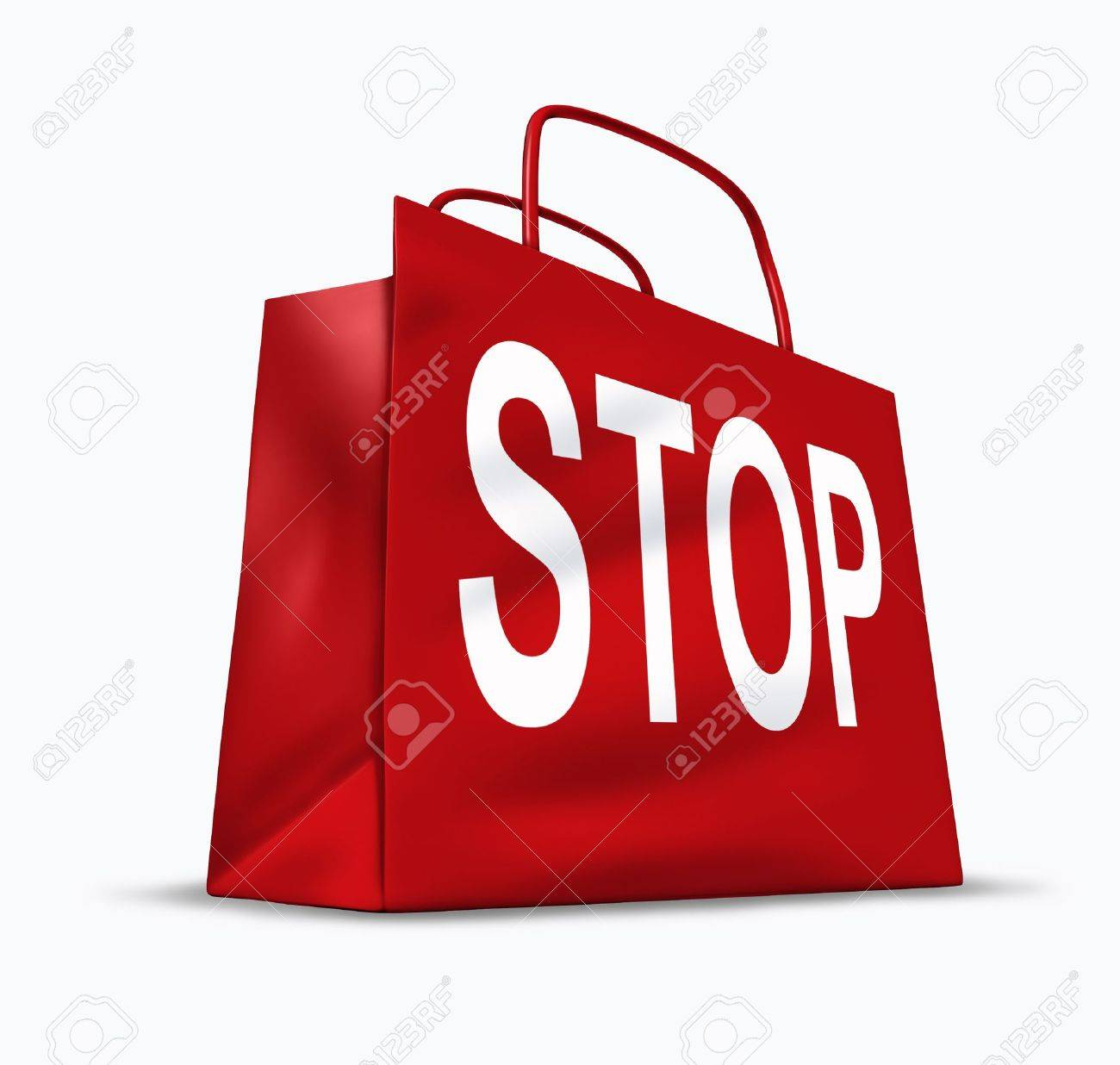 Stop shopping symbol of the economic problems of spending too much and falling into debt and bankruptcy caused by interest rates and a slow economy represented by a red shopping bag. - 10945908
