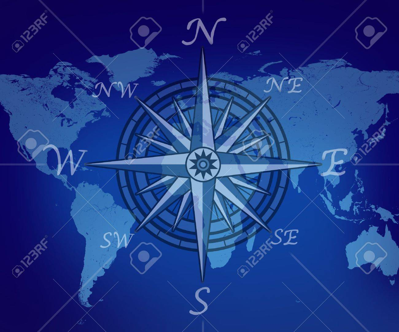 Map of the world with compass on blue background representing travel and business traveling journey for navigating to new global trading opportunities with the world. Stock Photo - 10945962