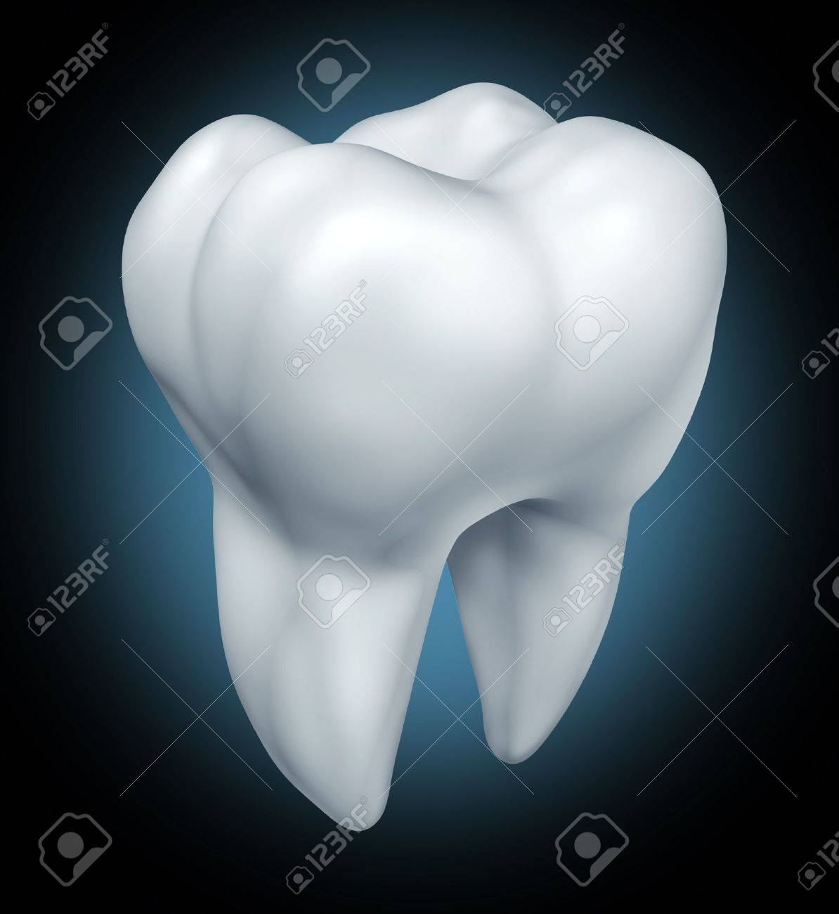 Dental health tooth  symbol representing dentist medicine and dentistry surgery represented by a white single molar tooth on a white background. Stock Photo - 10976394