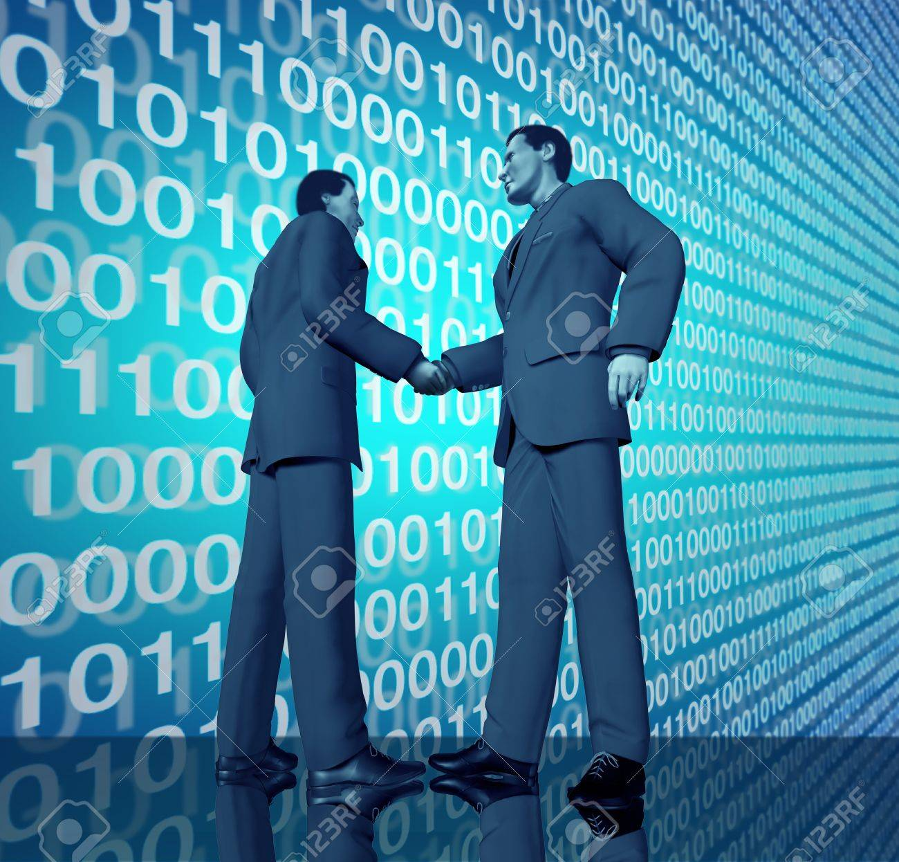 Technology business deal with a handshake between two buinessmen with blue binary digital code in the background representing partnerships connections and contract agreements in the world of high tech and computers. Stock Photo - 11066286