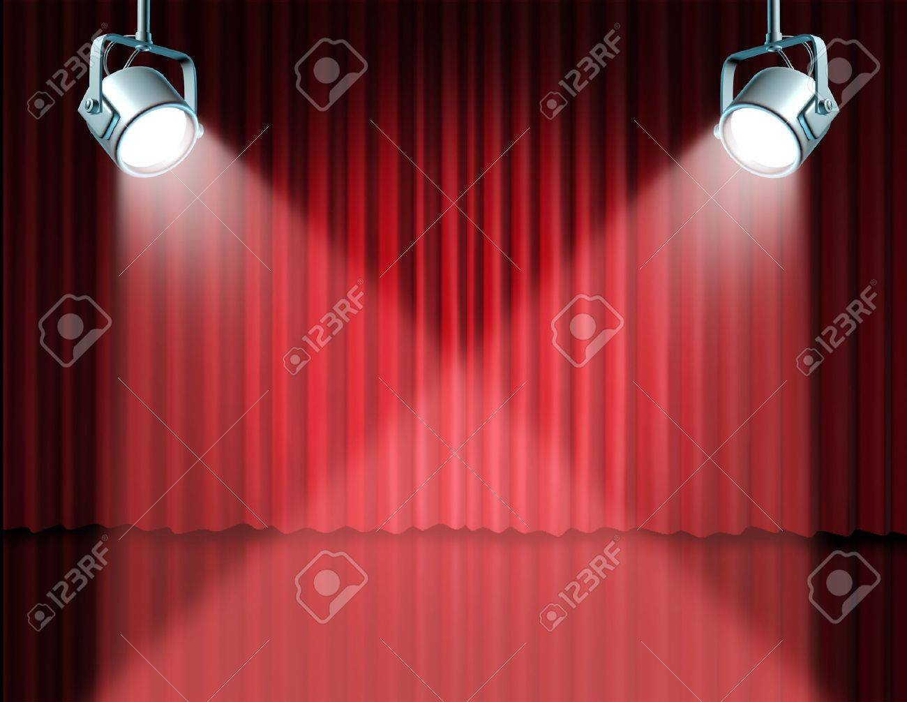 In the spotlight featuring concept for the theater stage with glowing lights on red velvet cinema curtain and drapes representing the entertainment communications concept of an important announcement in a rich cinema and theatrical environment. Stock Photo - 11119737