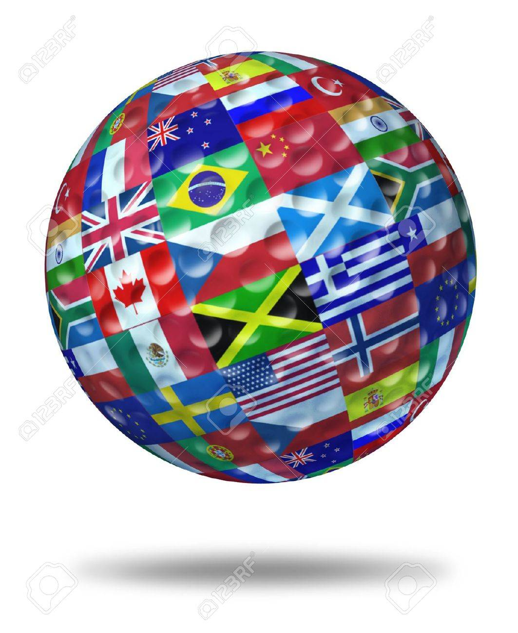 International golf tournament champion symbol represented by a golf ball with the flags of the world countries showing the concept of global golfing sports competion winning and world golf course  game activity. Stock Photo - 11119740