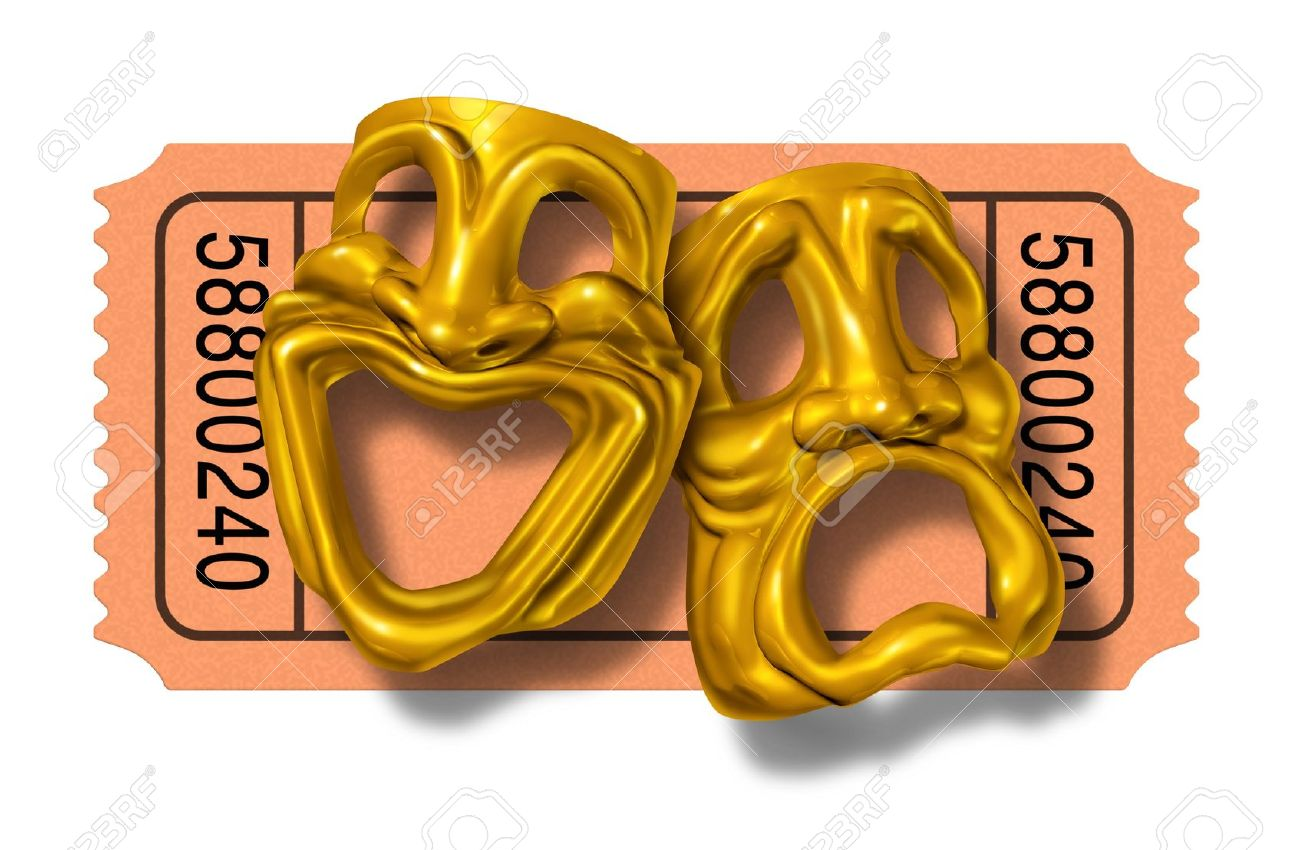 Movie ticket stub with gold comedy and tragedy masks symbol represented by two theatrical expressions with one face smiling and happy and another feeling sad and unhappy as a symbol of theater and cinema entrance admission fee. Stock Photo - 11119742