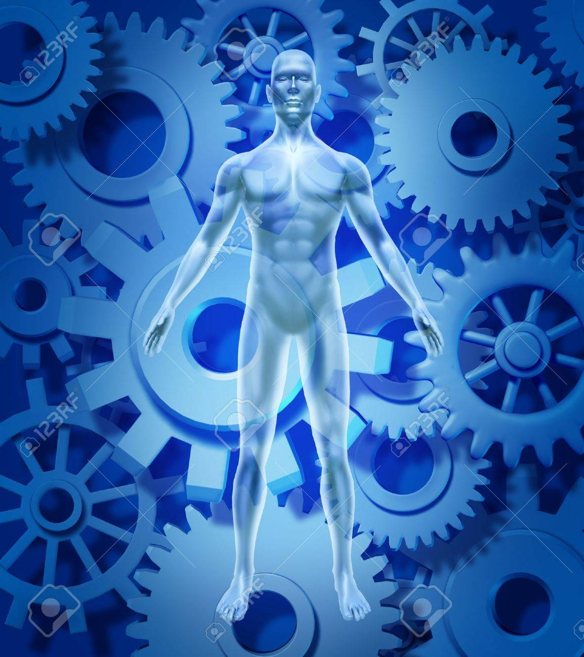 Human health and biology symbol showing a figure with gears and cogs representing the medical healthcare concept of healthy organ function of the body and mind free of disease and illness due to pharmaceutical medicine cures. Stock Photo - 11221487
