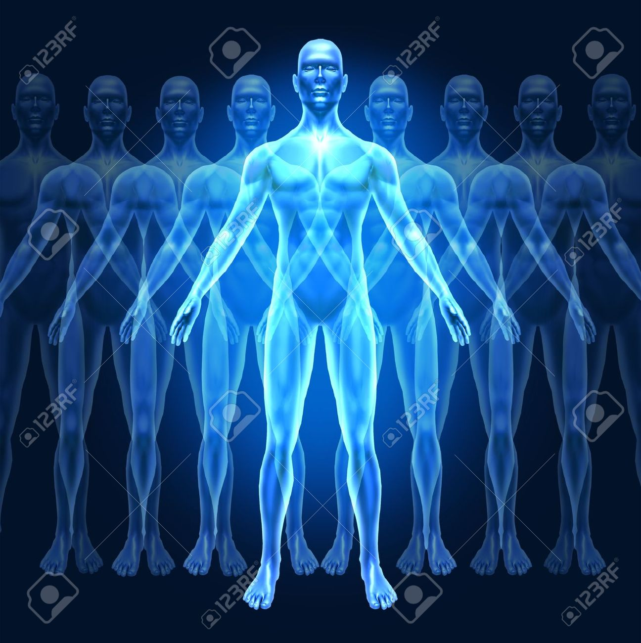 Human growth development and leadership symbol represented by a human with gradual well-being growing phases showing the concept of education and personal  inner strenght. Stock Photo - 11221483