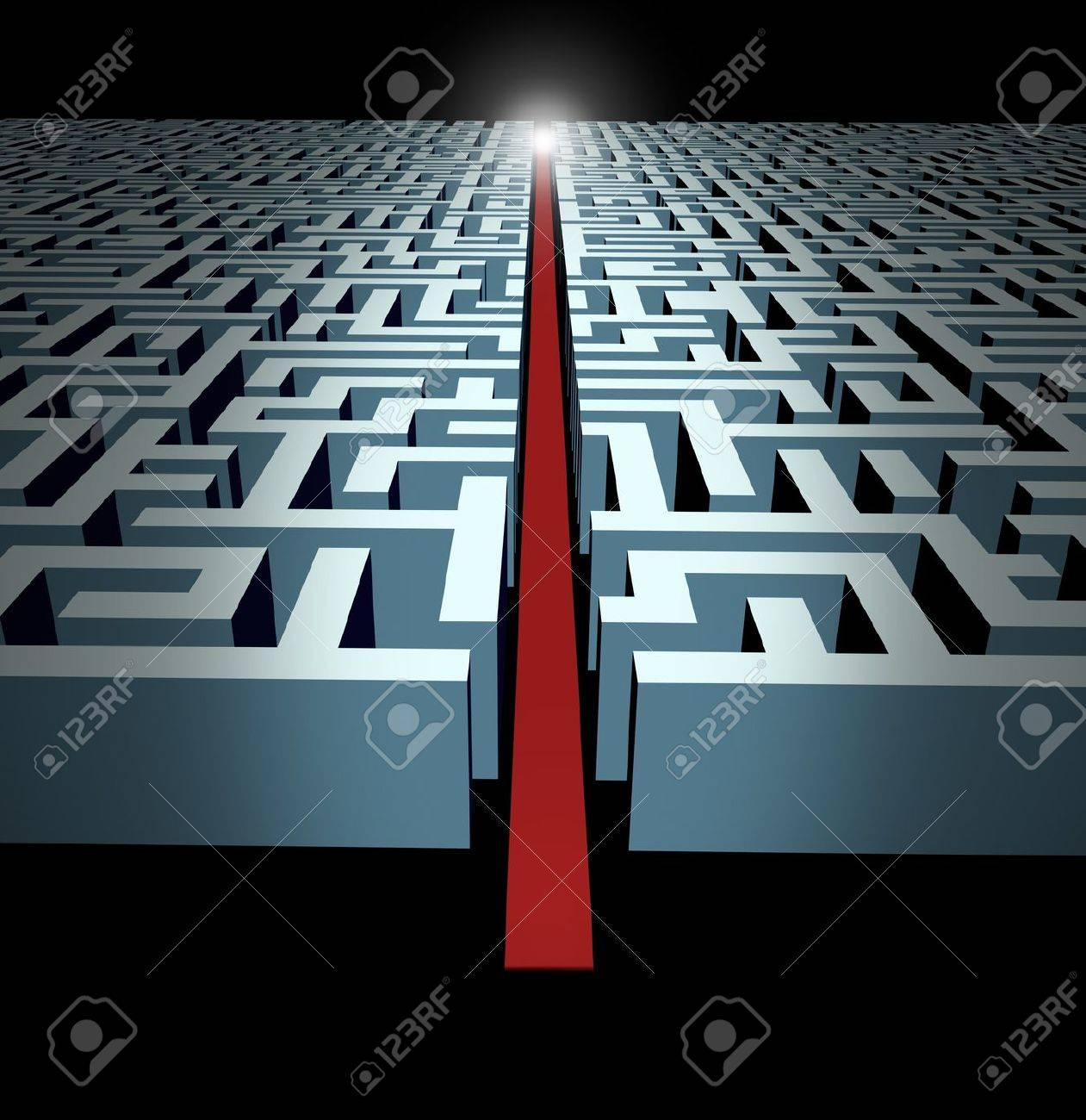 Leadership and strategy through business challenges and obstacles represented by a maze and labyrinth with a clear solution shortcut path opened with a red velvet carpet to lead the way to success and victory. Stock Photo - 11221478