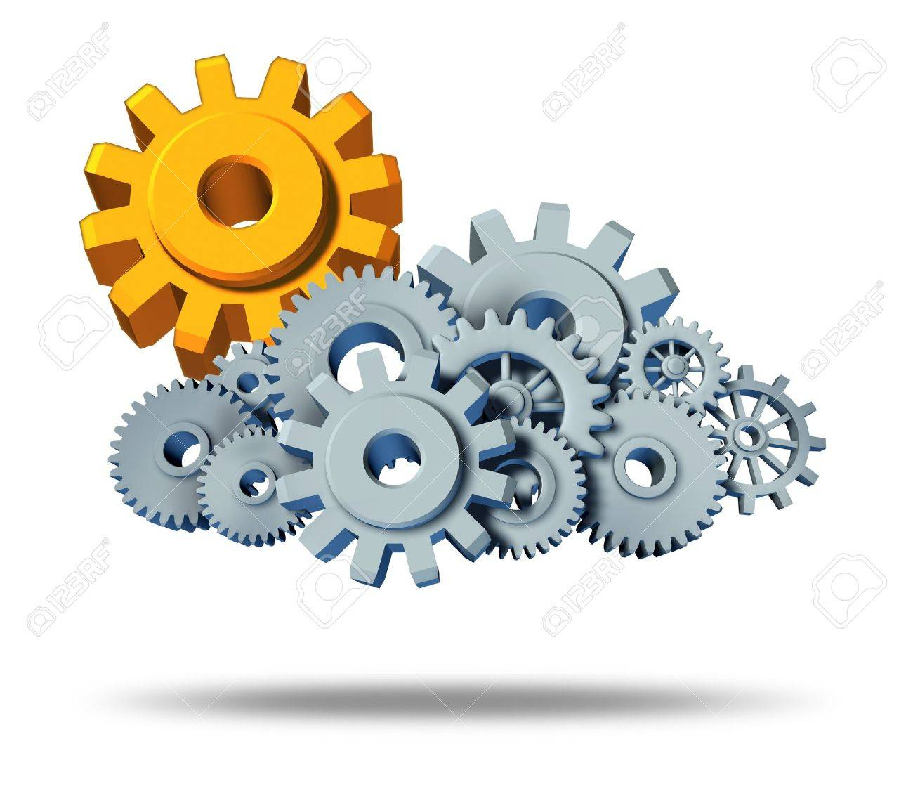 Safe cloud computing security in protected servers and the assurance of virtual apps for computers hooked up with the cloud showing  gears with a gold sun gear on white background showing the peace of mind of virtual data. Stock Photo - 11221496