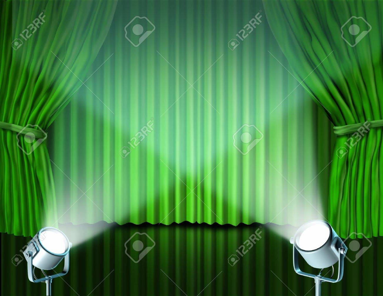 Theater Stage With Spotlights On Green Velvet Cinema Curtain Stock Photo Picture And Royalty Free Image Image 11221502