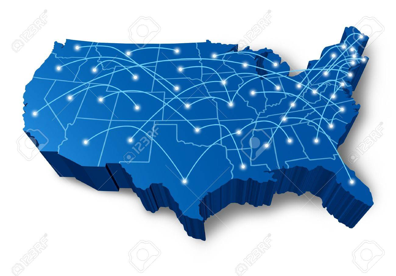 U.S.A 3D map technology communication network symbol represented by a blue dimensional United States with connecting web of fibre optic cell cables with shining center dots. Stock Photo - 11221498