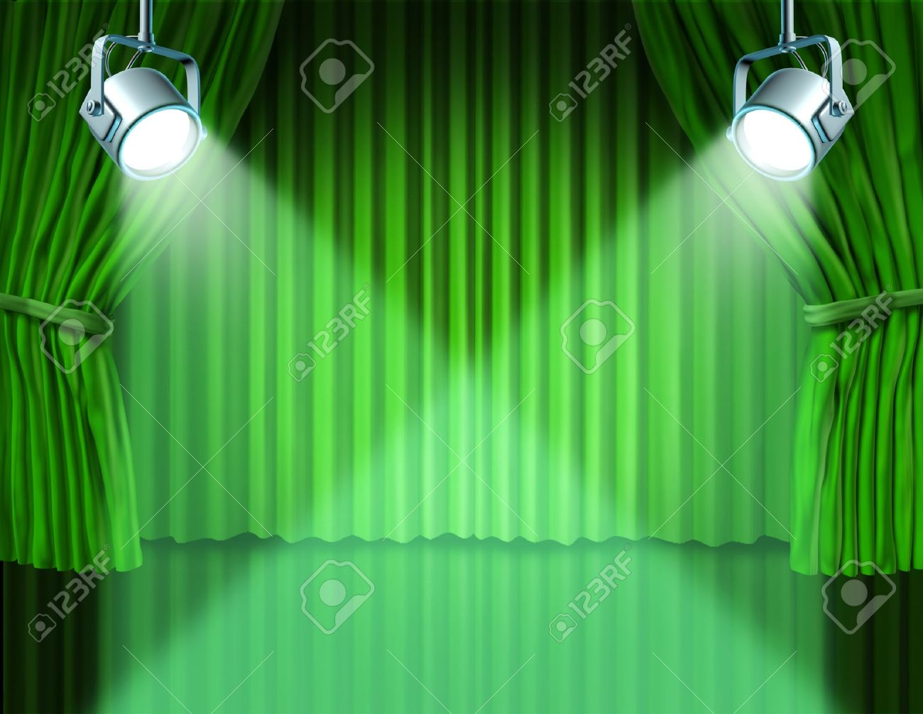 Green stage curtains - Stage Curtain Theater Stage With Spotlights On Green Velvet Cinema Curtain And Drapes Representing The