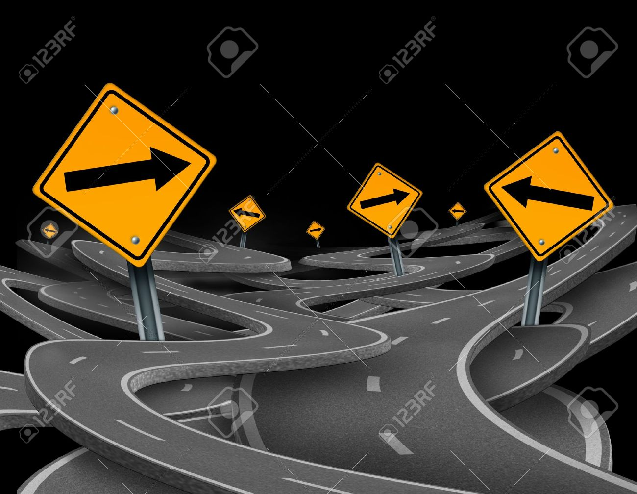 Staying on course symbol  representing dilemma and concept of losing control and strategic journey choosing the right strategic path for business with traffic signs tangled roads and highways in a confused direction. Stock Photo - 11359706