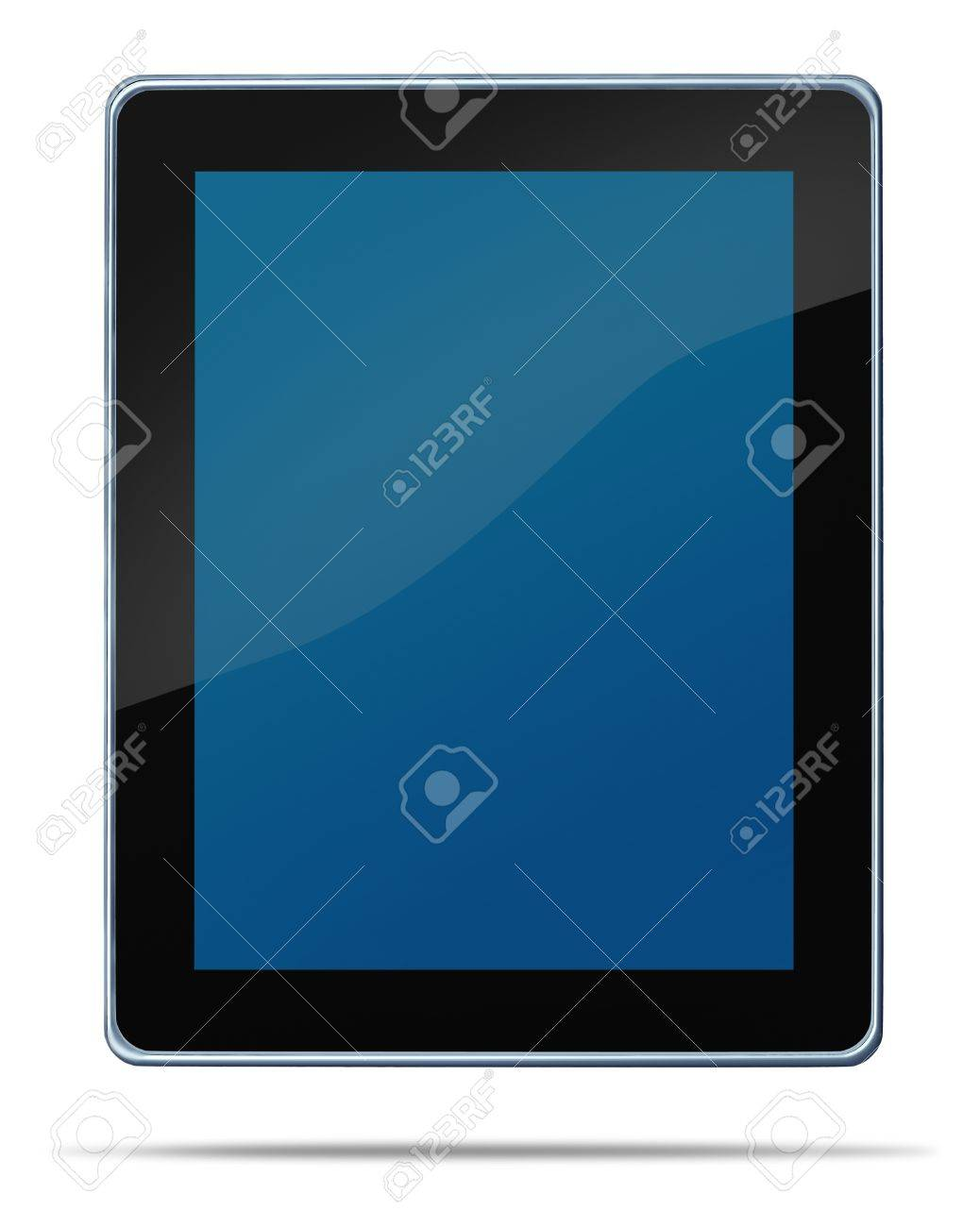 Tablet computerdigital display touch screen electronic gadget on a white background and shadow representing the technology concept of computing media tool for digital content distribution as digiat music e-books movies and internet browsing. Stock Photo - 11359695