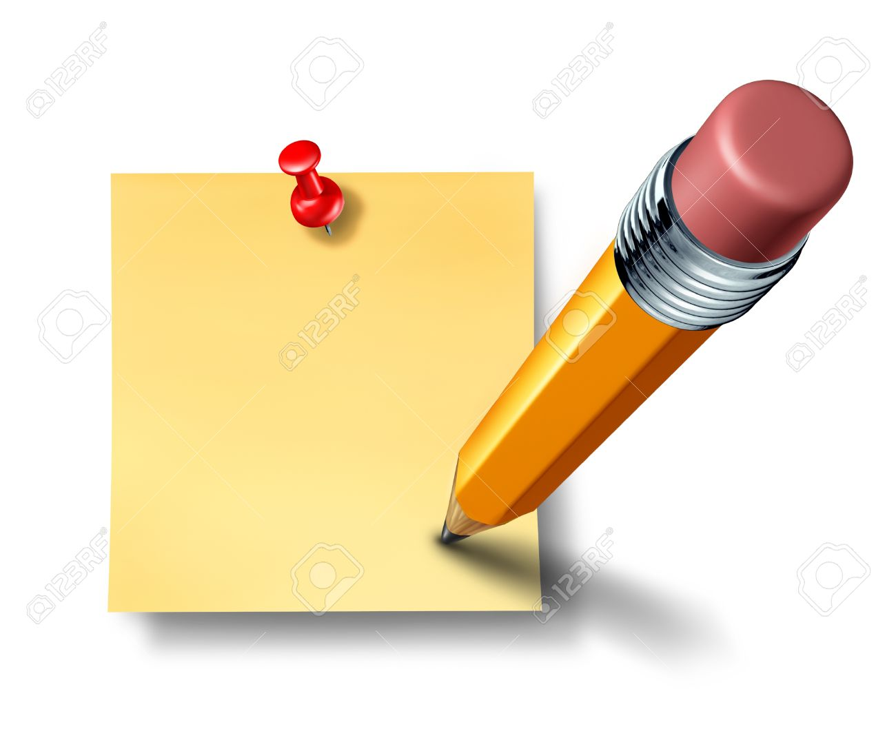Writing an on a blank office note with a yellow pencil representing the symbol and concept of communication and marketing when promoting an important reminder or business message to employees and staff to educate and notify. Stock Photo - 11359694