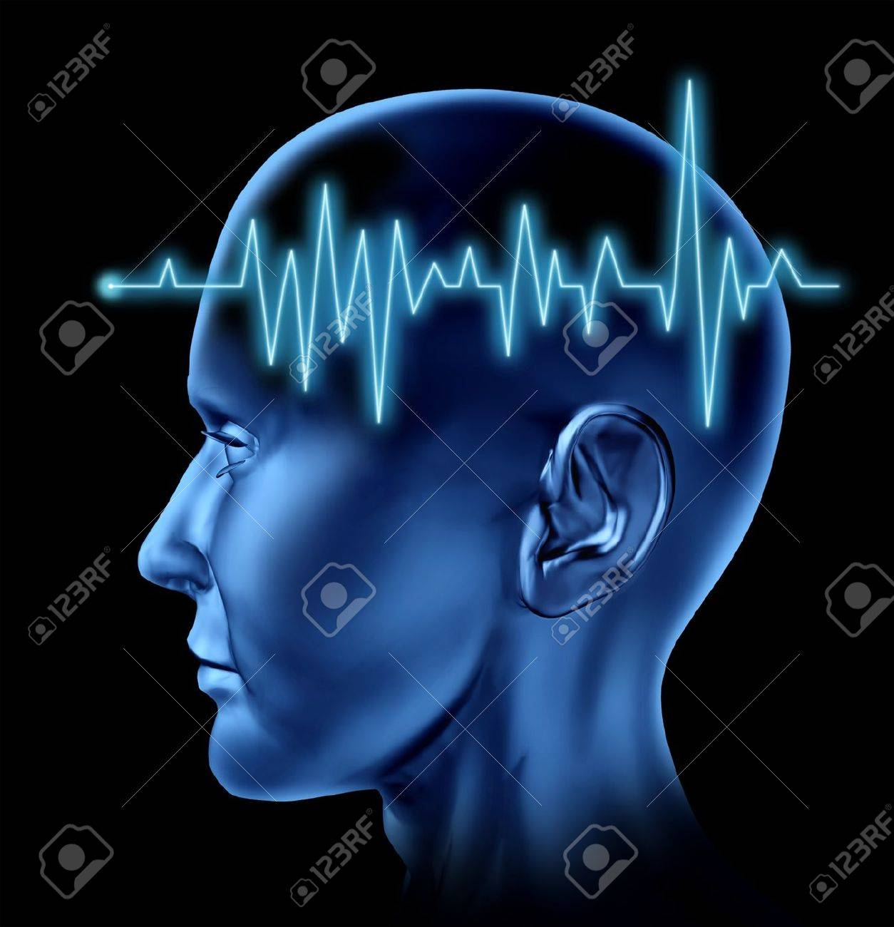 Human Brain ECG Health monitoring of the electrical signals that cause seizures in the human mind and charting the cognitive mental function of the intelligence of the anatomy of the body. - 11718474