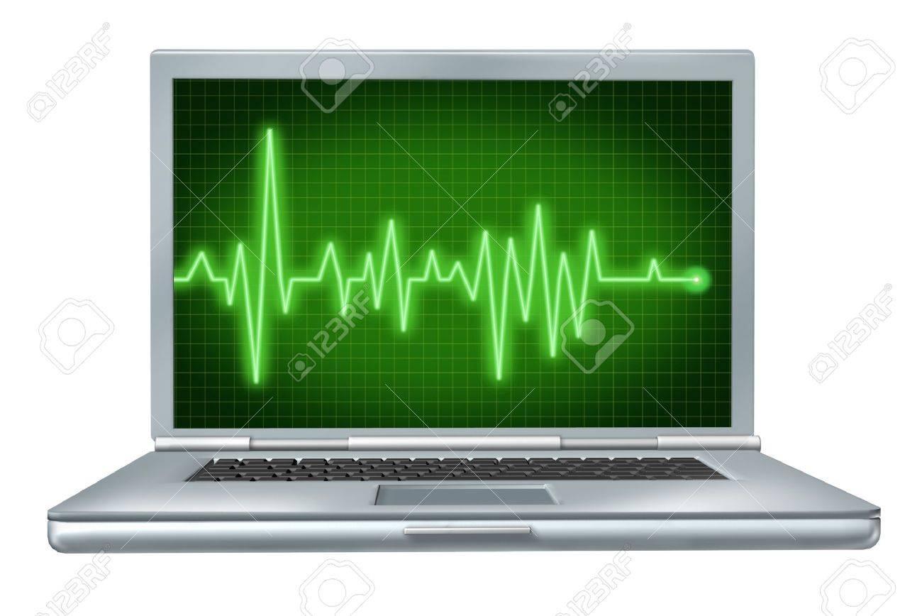 computer health laptop repair software hardware with green ecg ekg Stock Photo - 12034663