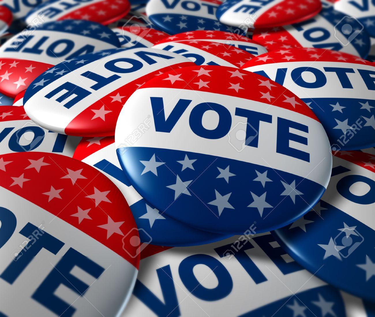 Vote badges patriotic button patriotic button badge election politics symbol Stock Photo - 11495653
