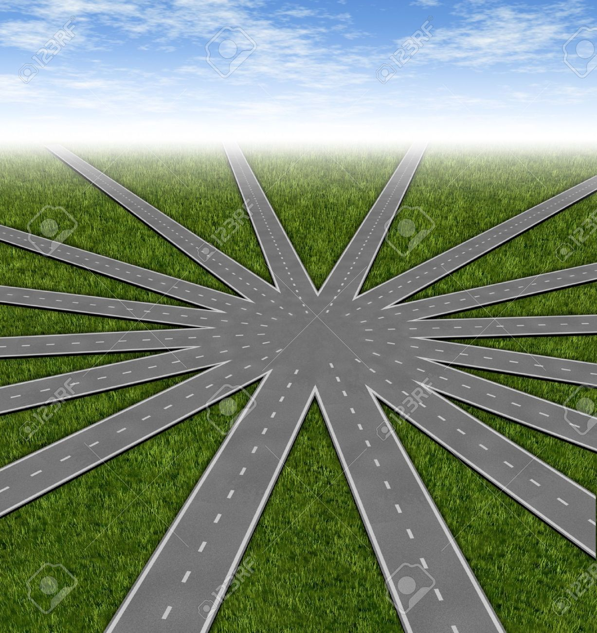 Choices and strategies symbol represented by a network of roads and highways merging to a center point showing many options and paths available to a team and common goals vision and a multiple paths to a unified strategy. Stock Photo - 11359712