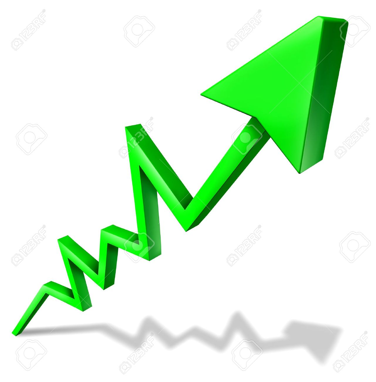 Success in business green arrow graph pointing upward and rising as a symbol of financial success and economic indicator of profitability and growth in market share on white background with shadow. Stock Photo - 11359775