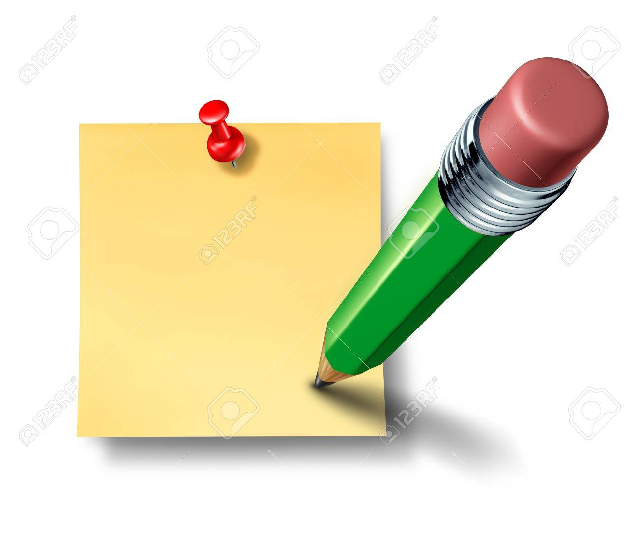 Writing an on a blank office note with a green pencil representing the symbol and concept of communication and marketing when promoting an important reminder or business message to employees and staff to educate and notify. Stock Photo - 11359784