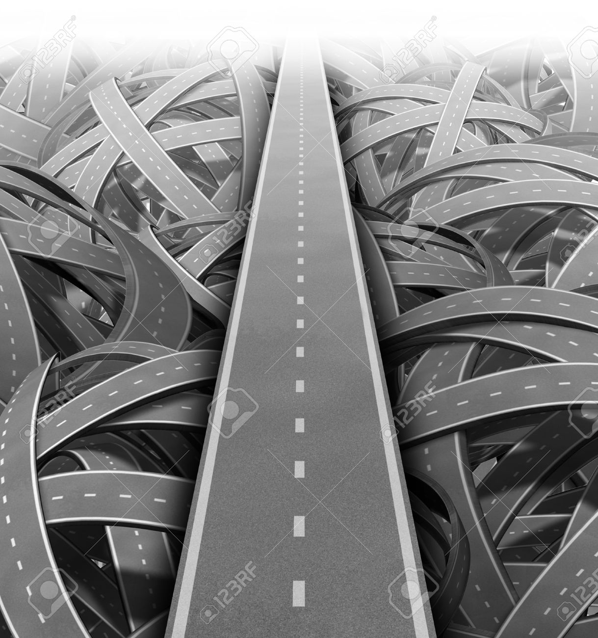 Cut through the mess for Solutions and success with clear vision and strategy due to careful planning and management building a road bridge over a maze of tangled mess of roads and highways cutting through the confusion and succeeding in business and life - 11359737