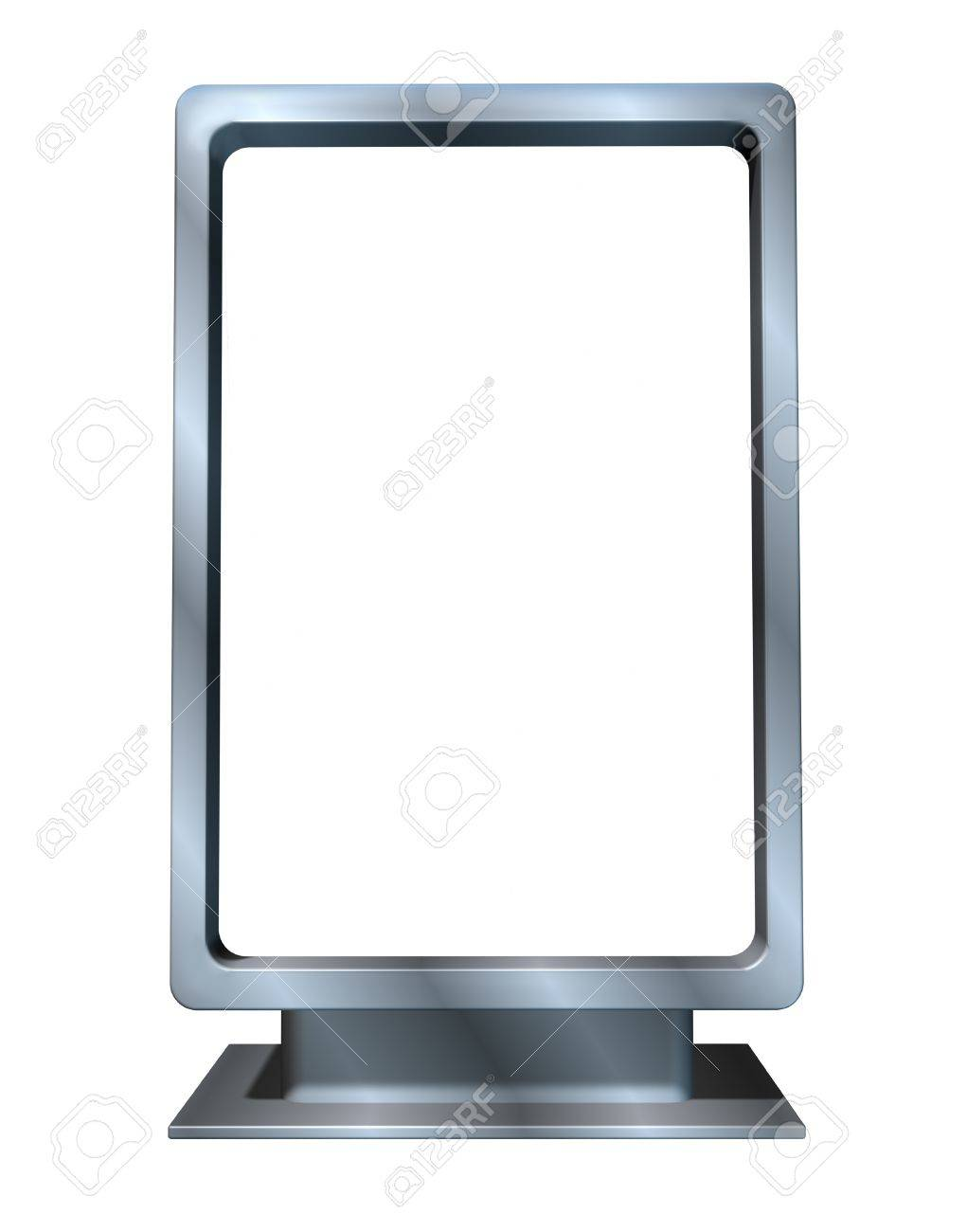 Marketing and advertising campaign with a single blank vertical billboard made of shiny metal in a dynamic angle as a sales display for an ad program for selling goods and services for  businesses . Stock Photo - 11404966