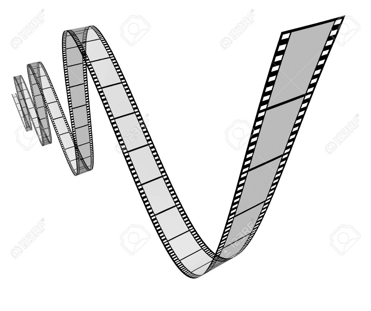 Film Movie Frames In A Dynamic 3d Twisted Shape On White Background ...