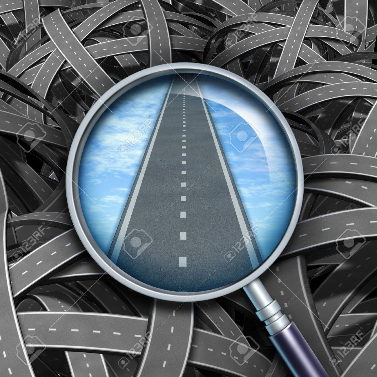Answers and solutions with a clear path and direction to business questions represented by confused tangled roads with a transparent magnifying glass guiding the way forward with a straight road of success. Stock Photo - 11718586