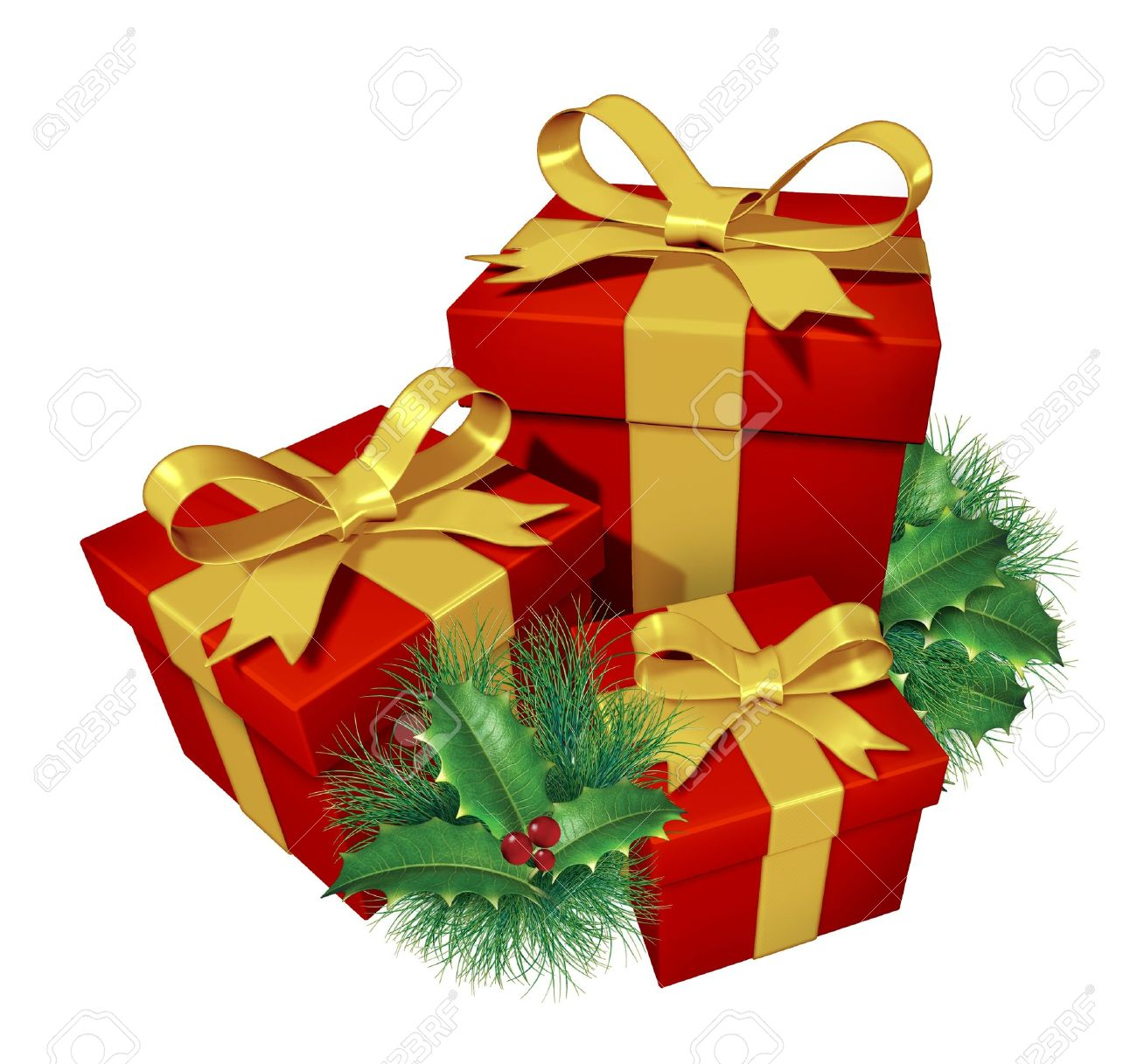 Christmas Gifts With Pine Holly Showing Red Presents And Blue ...