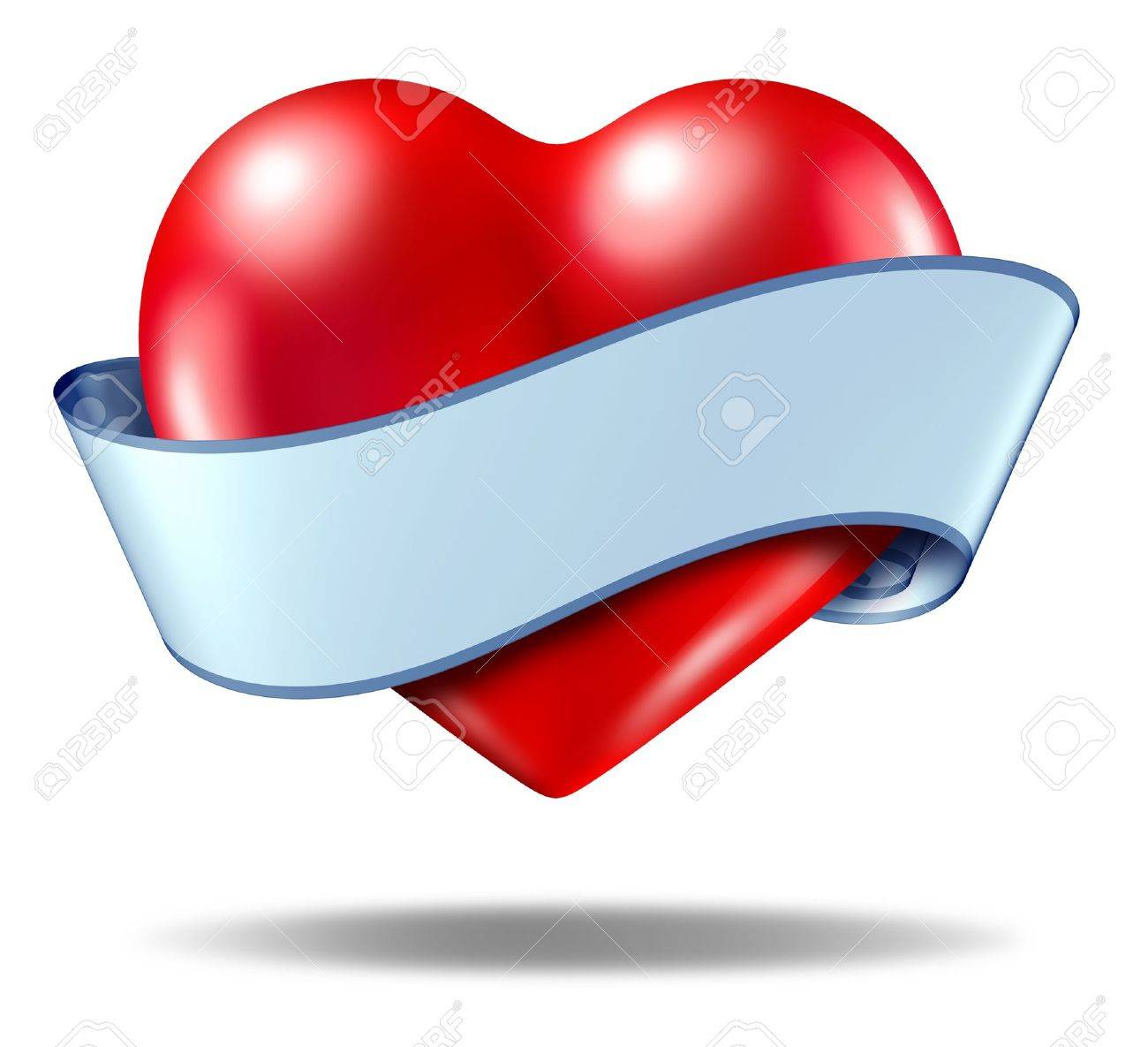 Heart emblem and love icon with a blank ribbon scroll around the va;entines symbol on a white background. Stock Photo - 11718572
