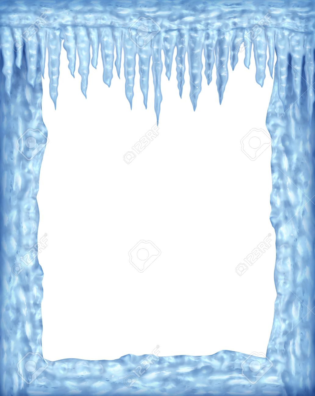 Frozen ice and icicles frame winter design element on a blank white background representing the cold arctic weather and low freezing  temperatures resulting in hanging shiny transparent ice crystals. Stock Photo - 11718576