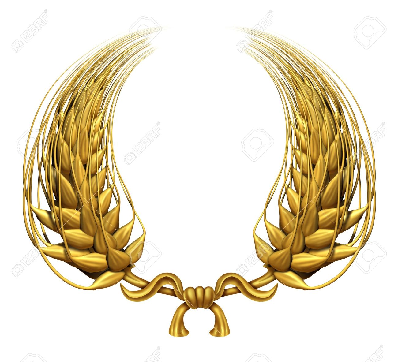 Gold laurel wreath of golden wheat representing an award and success of winning and a certified  achievement as a decorative element made of twisted 3d wheat grass and harvested food grain as a symbol of health. Stock Photo - 11718581