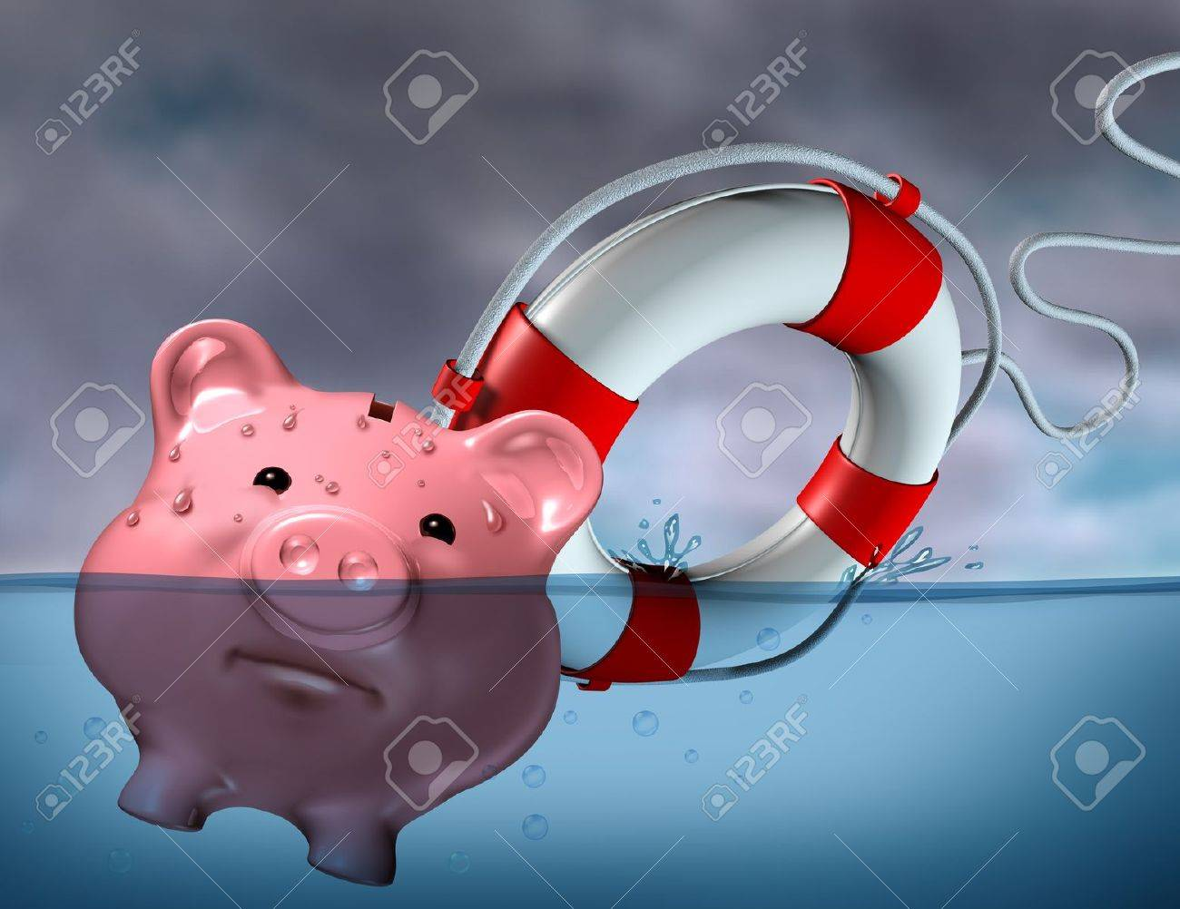 Financial Aid and rescue from debt problems and keeping your investments above water represented by a drowning pink piggy bank sinking in blue water with a life preserver as a symbol of urgent business help and assistance from bankruptcy. Stock Photo - 11718566