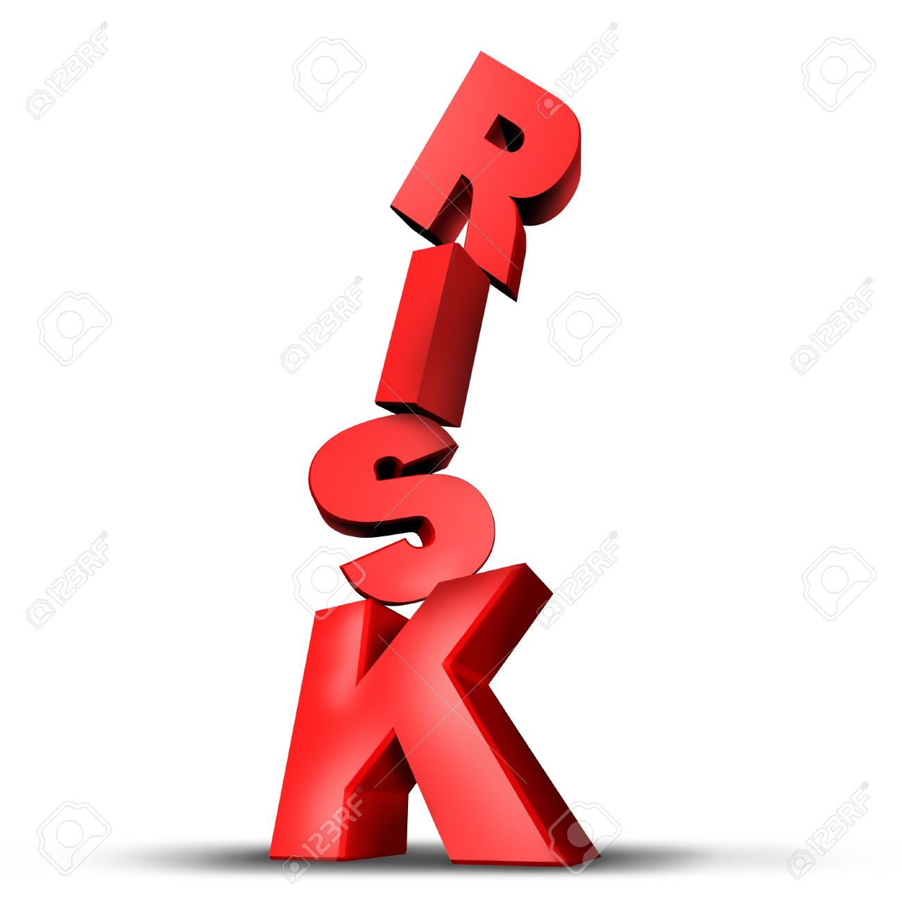Risks symbol with dimensional unsteady text letters on the verge of falling down trying deperately to keep its fragile balance as an anxiety concept of risky behavior and business risk or health risks on a white background. Stock Photo - 11718550