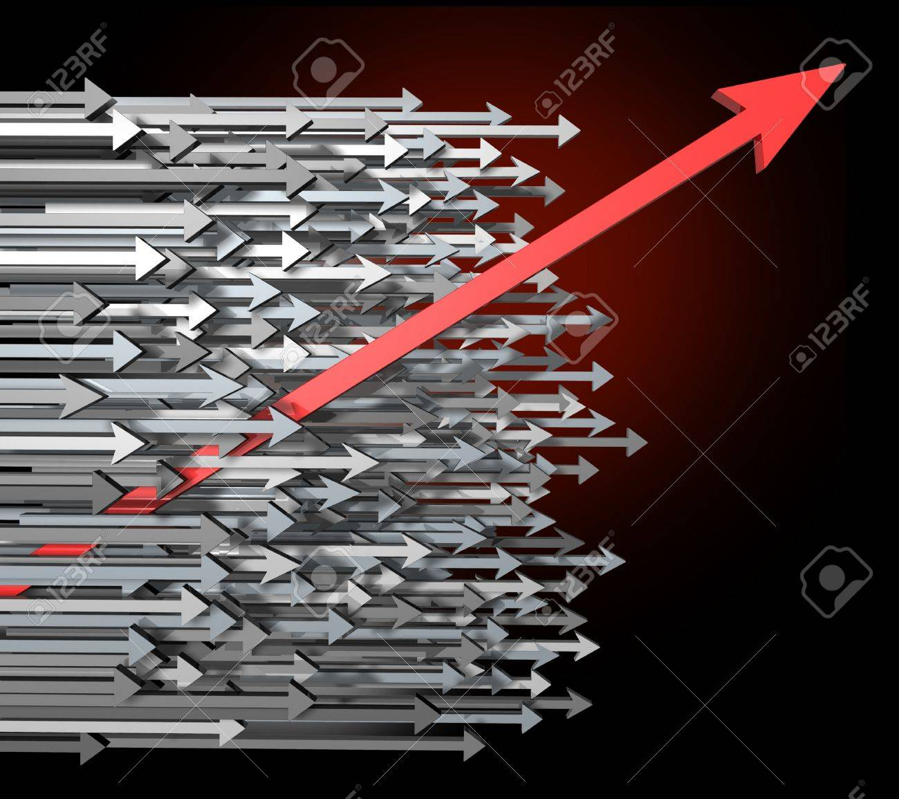 Against the current with innovation growth and Success breaking through moving up and standing out from the crowd  with clear focus of a goal as a new diagonal red arrow leading the race with old horizontal grey arrows for competition achievement. Stock Photo - 11840287