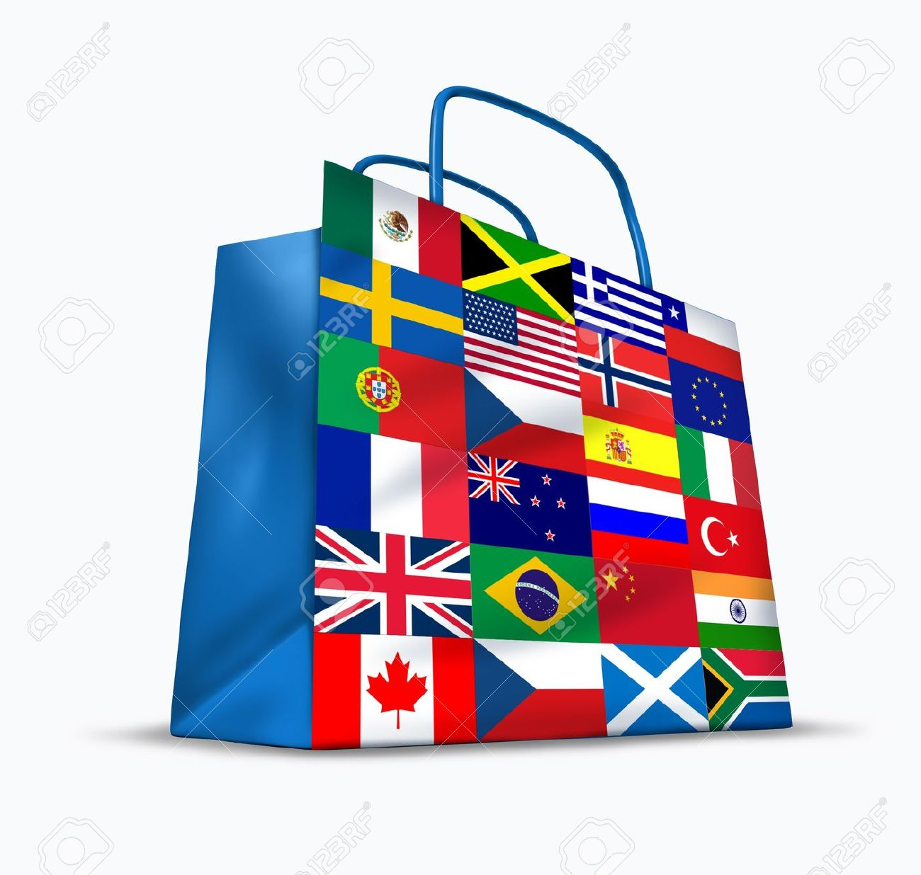 World trade and global commerce as an international symbol of business trading in exports and imports for the entire globe represented by a financial shopping bag with flags from many countries from around the earth. Stock Photo - 11840279