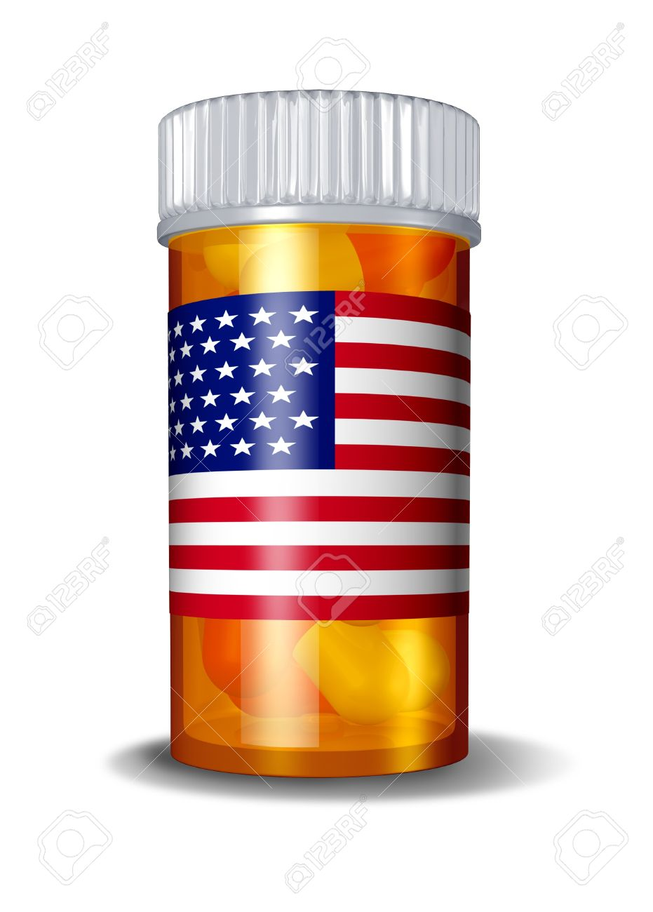 American health care and United States medical system with a USA flag on a medicine label over a bottle of pills on a white background as a symbol of government policy over the pharmaceutical industry. Stock Photo - 11840327