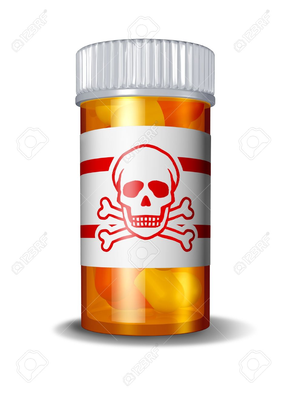 Dangerous prescription drugs due to hazerdous overdose of pharmaceuticals resulting in poisoning deaths from overdoses of medications including painkillers anti-anxiety drugs and sleeping pills with a danger sign label on a pill button. Stock Photo - 11840328
