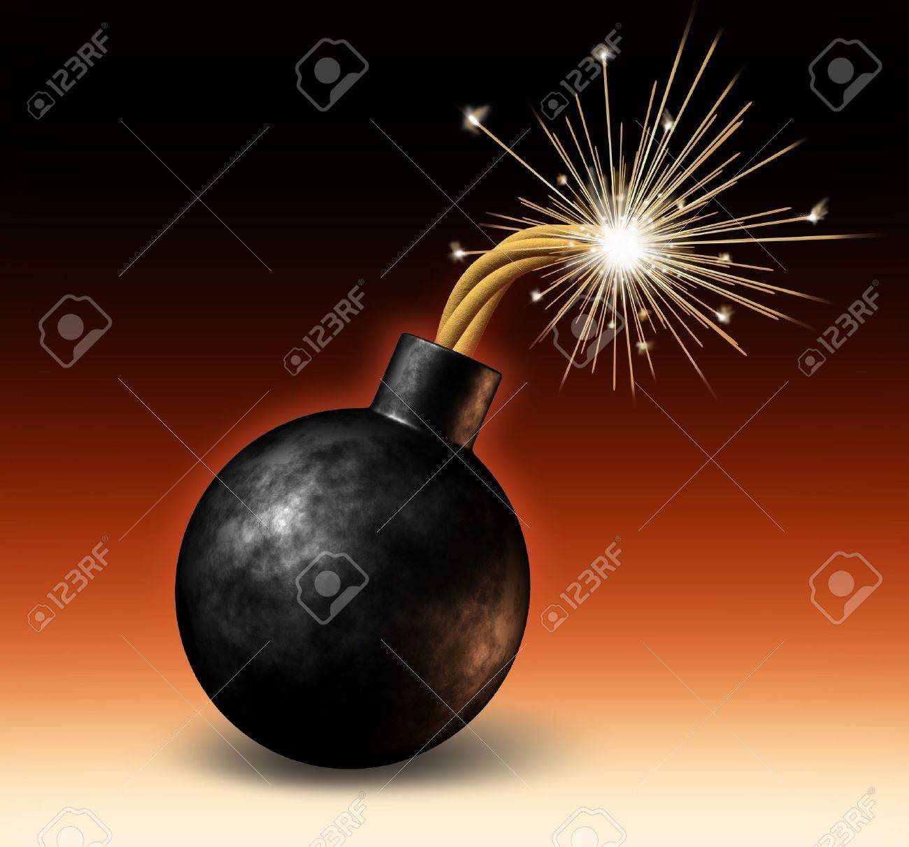Exploding bomb with lit burning fuse with fire sparks fealing the heat as a dangerous warning of an urgent deadline with an impending explosion warning on a red and black background. Stock Photo - 11840308