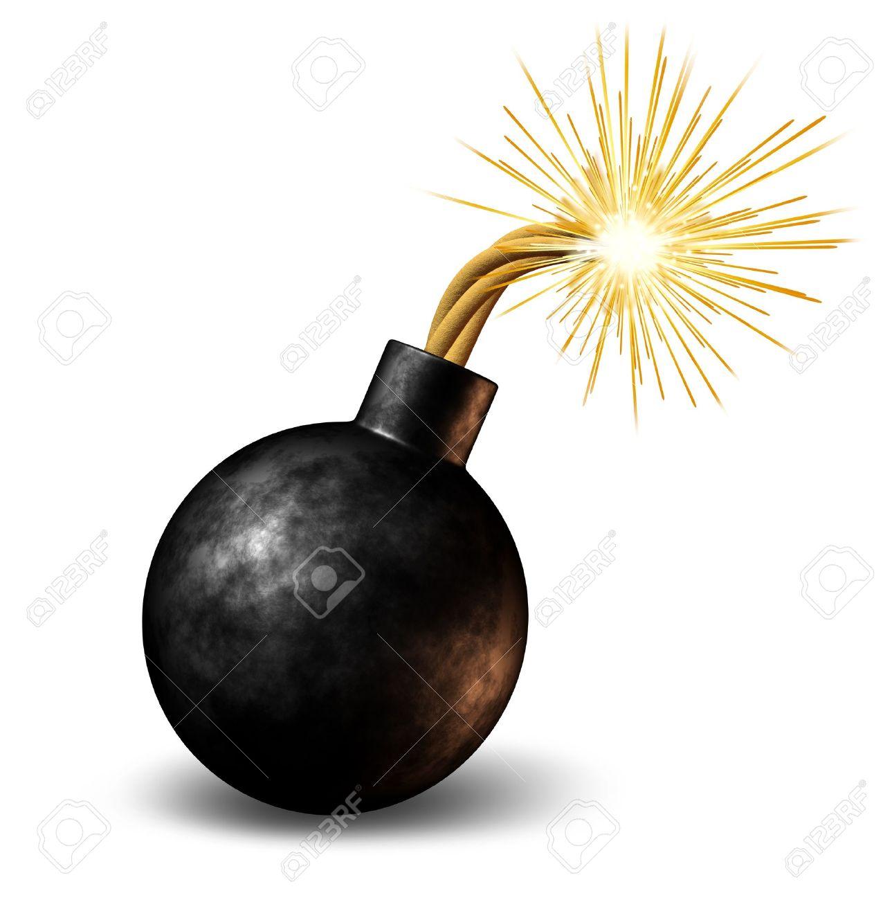 Bomba con fusibile illuminato in fiamme scintille fealing il calore come un avvertimento pericoloso di una scadenza urgente con un avviso di imminente esplosione su uno sfondo bianco. Archivio Fotografico - 11840306