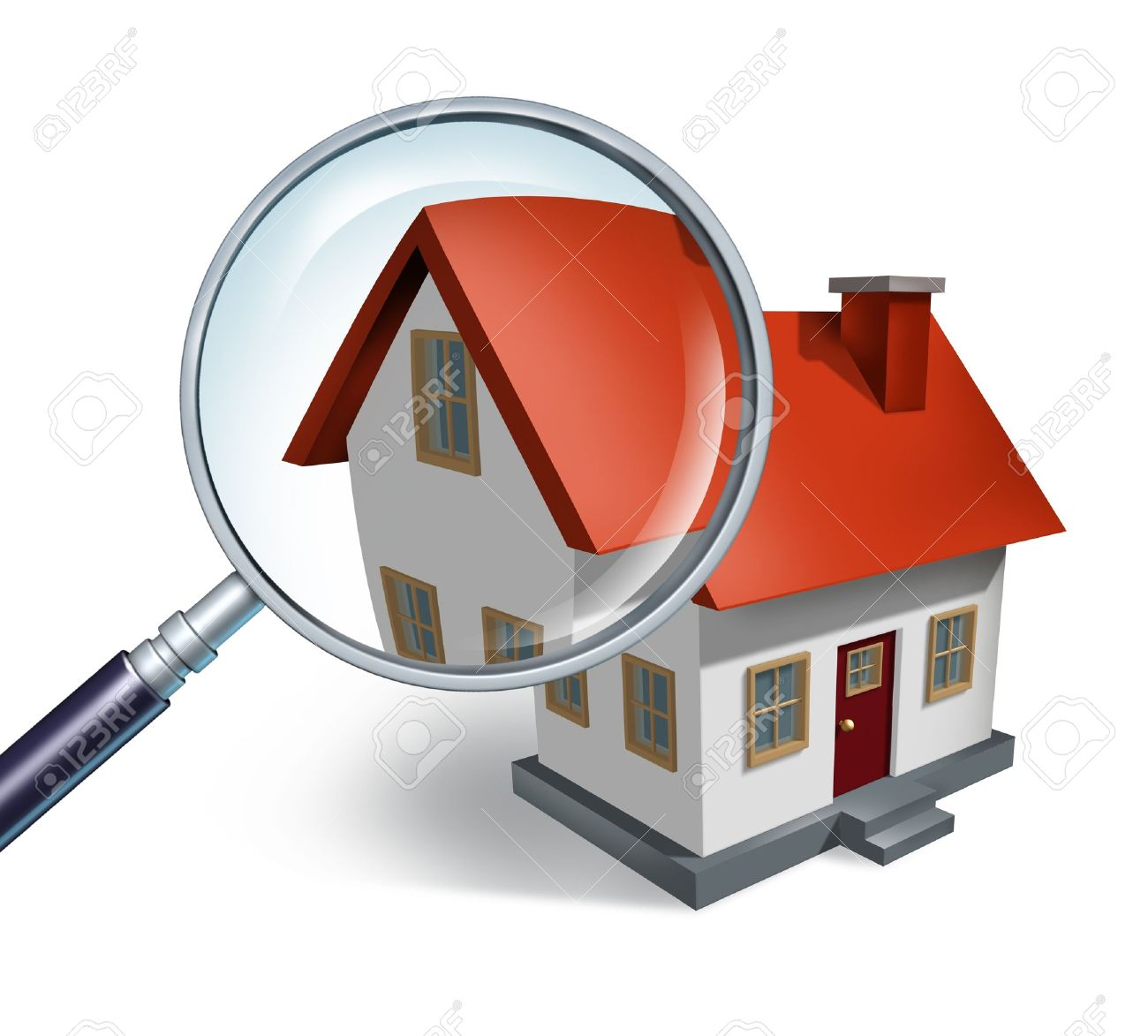 House hunting and searching for real estate homes for sale  that need to be inspected by a home inspector concept as a magnifying glass inspecting a model single home building structure. Stock Photo - 11840300