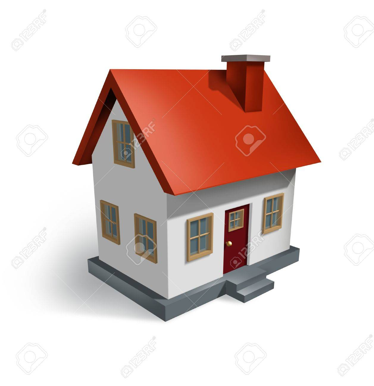 Real Estate and the housing industry  for real estate homes for sale  as a symbol of the residential house and home market as well as the construction economy as shown by a single biulding structure on white. Stock Photo - 11840344