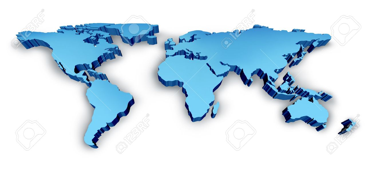 3d wold map in blue as a dimensional map with usa europe africa the americas and
