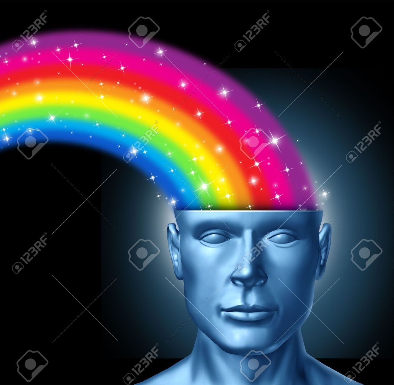 Design thinking and the creative brain with a front facing human head that has a colorful rainbow expressing itself out of the persons brain as a symbol of artistic innovation and new thinking in business leadership. Stock Photo - 12024513