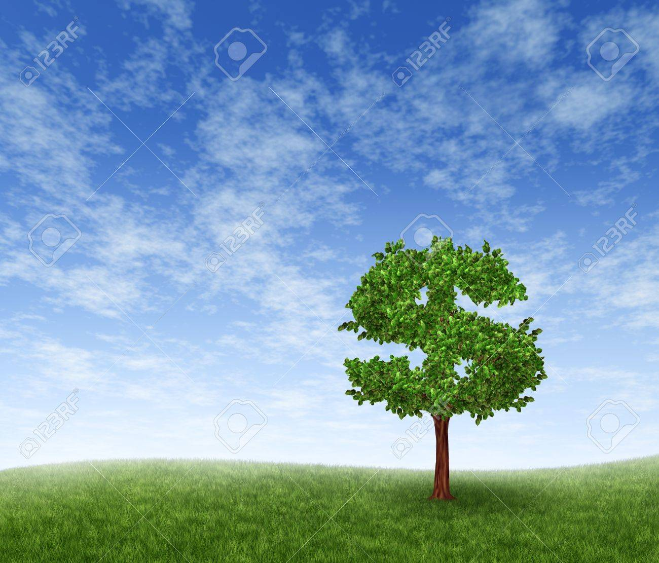 Financial growth and success on a green summer landscape with a single tree in the shape of a dollar sign on a rolling grass hill with a blue sky with clouds showing a business concept of growing prosperity and investments. Stock Photo - 12024526