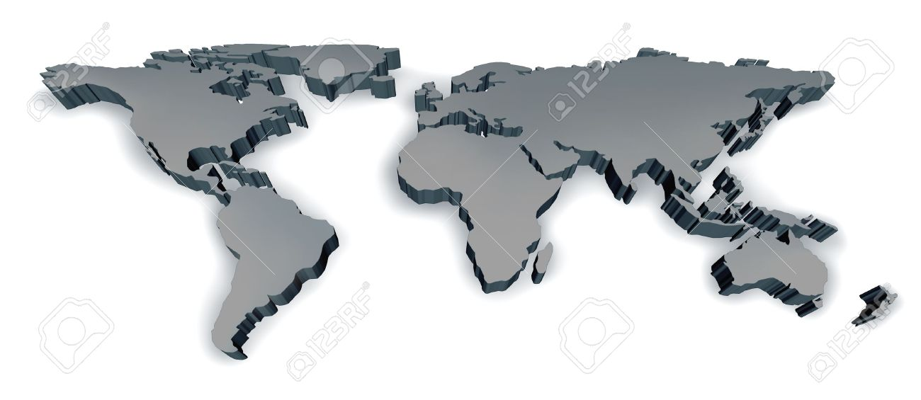 Three Dimensional Grey World Map With USA Europe Africa The Americas ...