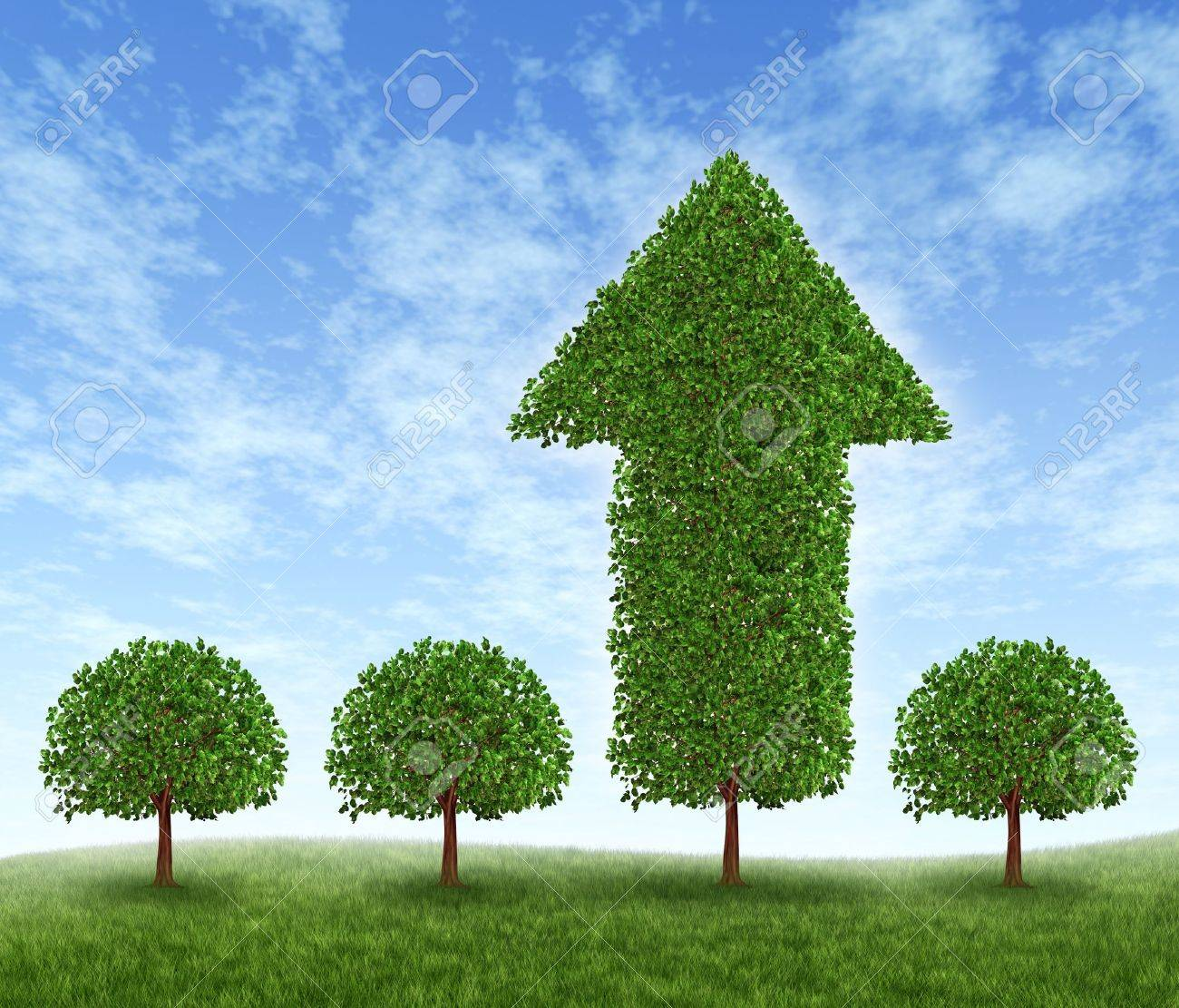 Best investment choice and financial advice for picking the right equity stocks to invest in for retirement or profit growth illustrated as four green trees but one money tree in the shape of an arrow succeeds in high growth. Stock Photo - 12082750